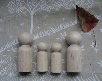 Set of 4 peg doll blanks