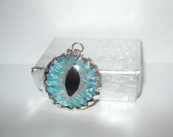 Glass eye teal aqua eyeball anatomy taxidermy pendant glass tile evil eye repellent ooak