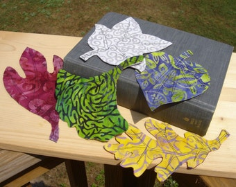 Cloth leaf bookmarks leaves book mark sassafras ginkgo tulip tree oak cotton wood trees fabric leaves batik colorful