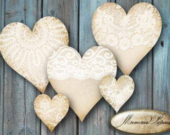 Hearts tags  beige vintage lace  //  instant download printable gift tags, labels  // wedding, valentine day  //  digital Collage Sheet 192