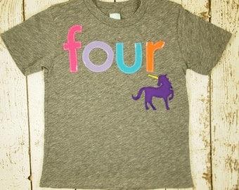 Unicorn birthday shirt, Girls birthday shirt fantasy princess party  girls tshirt rainbow pink purple turquoise