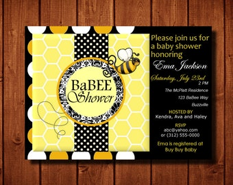 Bumble Bee Baby Shower Invitation Digital File or Add 5x7 Prints Front and Back Including Envelopes FREE SHIP or Upgrade to Faster Shipping