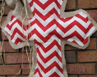 Burlap Cross Burlap Door Hanger Red and White Chevron