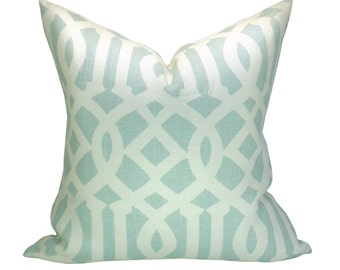 Schumacher Imperial Trellis pillow cover in Mineral