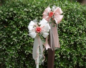 12 Peach Ivory Coral Rose Pew Bows Wedding Decorations Aisle Arch Chair Bridal