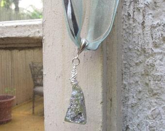 Ancient Roman Glass Pendant on Ribbon Necklace