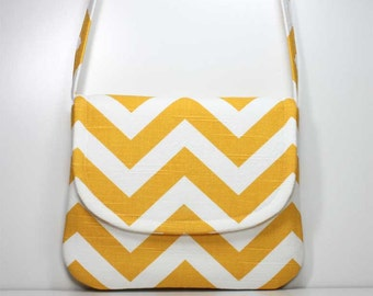 Small Crossbody Bag Small Shoulder Purse Sling Bag Hobo Bag Cross Body Bag - Yellow and White Chevron - Made to Order