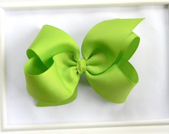 Lime Boutique Hair Bow - Lime Hair Bow - Large Boutique Bow