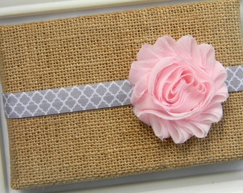 Pink Shabby Chic Headband - Infant headband - Toddler headband - Pink Chiffon Headband - Baby Chiffon Headband