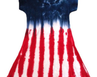 Tie Dye 4th of July Flag Women's Aline Dress