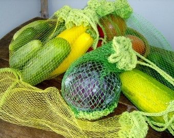 Mesh Market Produce Bag with crochet trim, reusable, eco-friendly, upcycled, set of three (3)