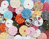 Fabric YoYo, yo-yo's mixed sizes and colors with pearl center, make headbands, applique, embellishments, wholesale