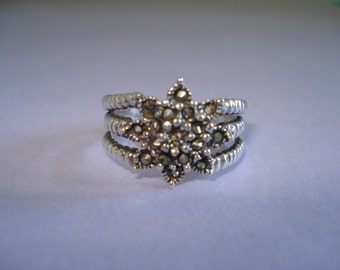 Vintage Sterling Silver Ring, Marcasite Stones, Size 8, Lots of Natural Sparkle FREE SHIPPING