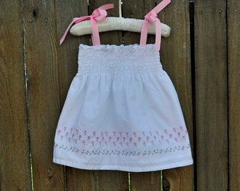 White Baby Dress... White with Pink and Gray Embroidery, Eco-friendly, 3m,6m,9m,12m,18m,2t