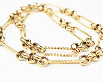 Vintage Gold Link Long Necklace