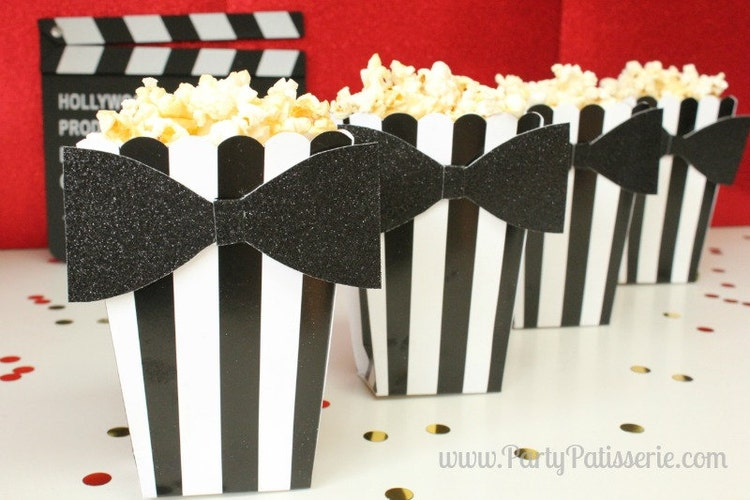 black amp white striped popcorn boxes with black by
