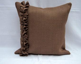 "Chocolate Brown Burlap Pillow Cover or Pick Any Color Burlap Pillow 20"" x 20"" Decorative Pillow"