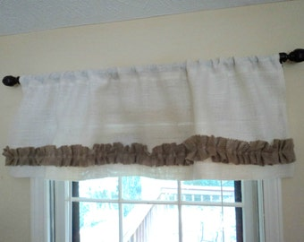 Natural or Ivory Burlap Curtain Valance with Ruffles Shabby Chic Window Curtain Burlap Home Decor Rustic Chic Valances