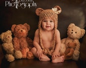 Baby Teddy bear hat beanie earflap and diaper set (over 30 colors available) Bow NOT included.
