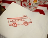 Fire truck Beverage Napkins / Set of 50 / Perfect addition to your fire station party