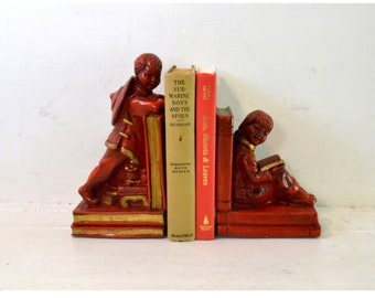 Vintage Universal Statuary Corp. of Chicago, Illinois Chalk ware Book Ends // Painted Red and Gold Asian Children // 1964 Bookends