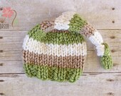 Wooly Knit Sleepy Cap, Newborn Photography Prop in Striped Green Tan and Cream