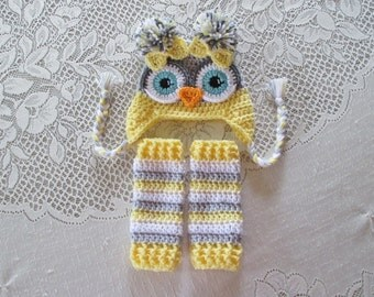 Lemon and Light Grey Owl Crochet Hat and Leg Warmers - Photo Prop Set - Available in Newborn to Toddler Size - Any Color Combination