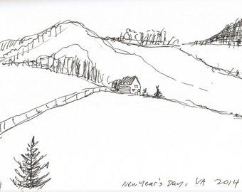 Virginia farmland, Original Ink Sketch, Drawing, Fine Art, Travel