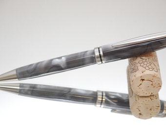 Handmade Pen Acrylic- Silver Swirl Acrylic and Chrome Plating