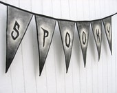 Halloween Banner, Indoor Outdoor Handmade Pennant Banner Hand Painted Canvas Reusable Halloween home decor