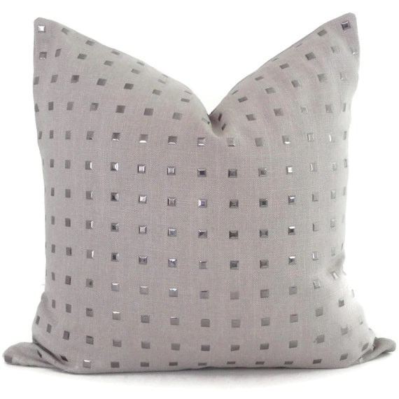 Studded Taupe Linen Pillow Cover Square Euro Or Lumbar