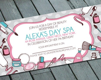 Girl's SPA THEME PARTY Invitation: Digital printable file