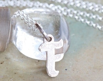 Sterling Silver Initial F Necklace - F is for Fabulous - Letter F Pendant on Chain