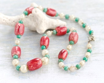 Pink and Turquoise - Antique Glass And Ceramic Beads Necklace