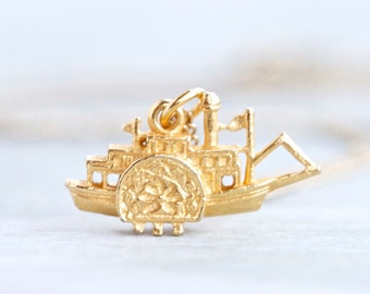 Tiny Steamboat Necklace - Miniature Ship Pendant on Chain - Nautical jewelry