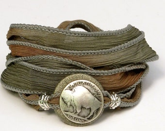 Silk Ribbon, Whirly Wrap Bracelet, wrap bracelet, spearmint and sand, Buffalo Nickel, Indian Head Nickel, secure magnet, Americana