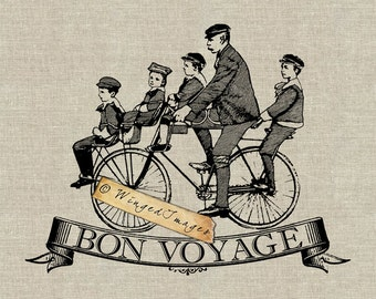 Vintage French Bon Voyage Instant Download Digital Image No.127 Iron-On Transfer to Fabric (burlap, linen) Paper Prints (cards, tags)