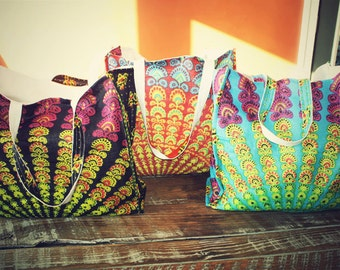 Mandala sunburst market bag, hippie bag, cloth diaper bag, grocery bag, reversible canvas bag, bohemian purse, overnight bag, hippie wedding