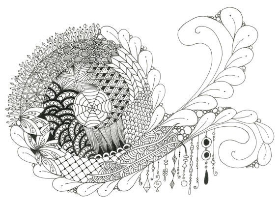 Printable Zendoodle Adult Coloring Page A1