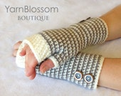 CROCHET PATTERN Snowfall Fingerless Gloves (Sizes Adult Small to X-Large) Instant Download
