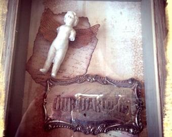 Vintage Casket Plaque and Frozen Charlotte Shadow Box-Mixed Media, Memento Mori, Victorian, Macabre, Repurposed Assemblage