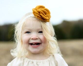 Mustard Yellow Crochet Rose Clip and Elastic Headband