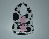 Personalized Cow Print Bib with Pink Number