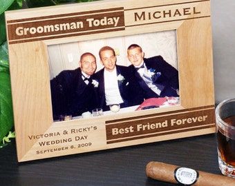 Personalized Groomsman Picture Frame, wedding party, for him, groomsman gift, wooden frame, engraved -gfy929551