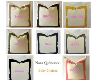 20x20 To 26x26 Decorative Pillow Cover with Grosgrain Ribbon Border - 8 Different Colors of Ribbon Border Choices On White Cotton Canvas