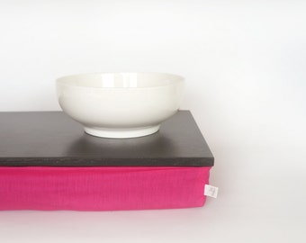Stable table, Breakfast in Bed serving Tray - Graphite grey with bright fuchsia pink cotton Pillow