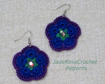 Crochet Pattern African Flower Earrings, African Violets Pattern, Crochet Earrings Pattern, Crochet Jewelry Pattern, Instant Download PDF650