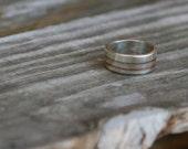 Handmade Striped 7mm Mokume-Gane Sterling Silver and Copper Ring