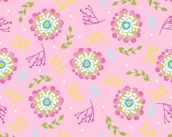 20 x 20 LAMINATED cotton fabric yardage (similar to oilcloth) - Floriography Floral Pink - Approved for children's products
