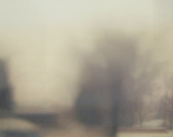 Abstract Modern Landscape, Minimal Art, Foggy Winter Scene, Abstract Photography, Muted Tones, Square Format, Modern Wall Art
